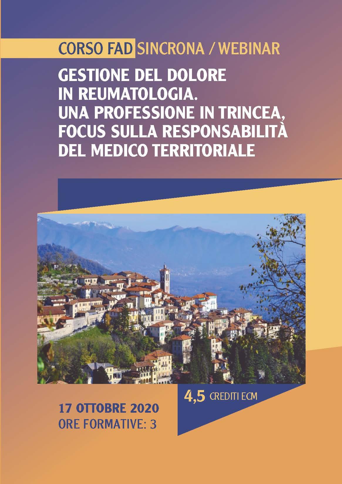 Gestione del dolore in reumatologia: Una professione in trincea. FOCUS sulla responsabilità del medico territoriale